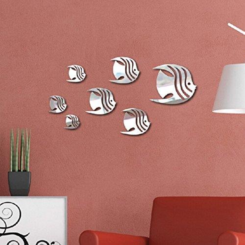 Masterein 7pcs 3D Fish Wall Stickers DIY Mirror Wall Art Decal Silver Fish  Mirror Background Decor