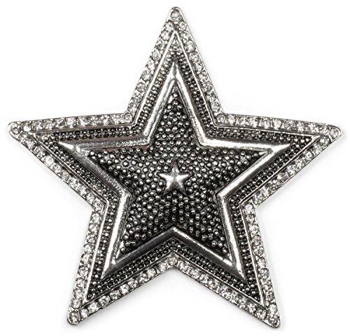 styleBREAKER Stern Magnet Schmuck Anhänger mit Strass, für Schals, Tücher oder Ponchos, Brosche Damen 05050059, Farbe:Silber