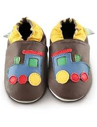 Snuggle Feet - Chaussons Bébé en Cuir Doux - Train Tchou Tchou