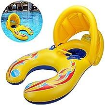 LINJU Flotador de la Nadada de la Madre y del bebé con el toldo Inflable de la sombrilla de la Seguridad desprendible, Juguete del Anillo de la natación de ...
