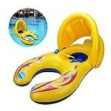 Mutter und Baby Schwimmen Float mit Abnehmbaren Sicherheit aufblasbare Sonnenschirm Baldachin, Doppelte Person Schwimmen Ring Spielzeug für Kinder (1-3 Jahre)