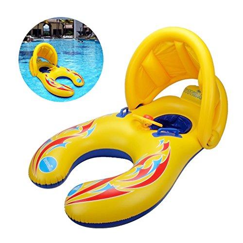Flotador de la Nadada de la Madre y del bebé con el toldo Inflable de la sombrilla de la Seguridad desprendible, Juguete del Anillo de la natación de la Persona Doble para los niños (1-3 años)