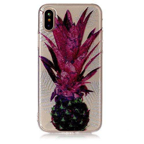 iPhone X Hülle, iPhone X Handyhülle, MSK® HandyTasche Back cover TPU Silikon Schutzhülle Telefonkasten Protective Tasche Für iPhone X - Donuts Ananas