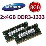 Samsung Arbeitsspeicher (Mihatsch & Diewald), 8GB Dual-Channel-Set, 2x 4GB, 204 Stifte, DDR3-1333(1333MHz, PC3-10600, CL9)–für Apple MacBook Pro 8,1,8,2,8,3, iMac 11,2,11,3,12,1,12,2,mac mini 5,1,5,2,5,3