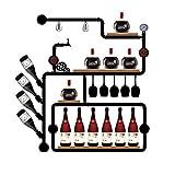 SUNBOR Wandhalterung Weinregal Vintage Industrie Wasserrohr Holz Küche Esszimmer Cafe Bar Design Innenausstattung SG-B01