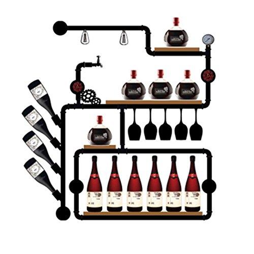 SUNBOR Wandhalterung Weinregal Vintage Industrie Wasserrohr Holz Küche Esszimmer Cafe Bar Design Innenausstattung SG-B01 -