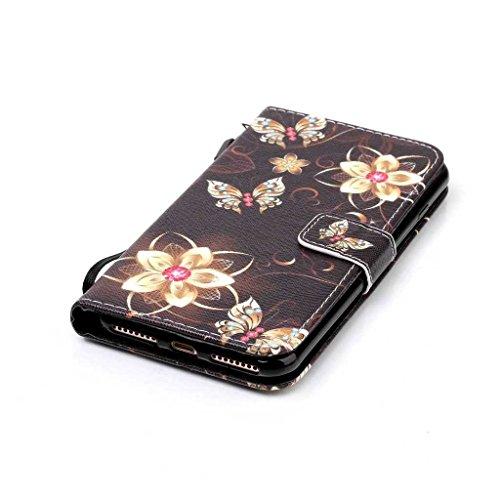 iPhone 6/iPhone 6s custodia in pelle + free tempered glass Screen Protector, Boxtii® [Slim Fit] PU Flip Case con [cinghia] [chiusura magnetica] [card/contanti slot] [cavalletto], modello colorato desi #5 Butterfly