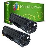Printing Pleasure 2 Compatibles CE285A 85A Cartuchos de tóner para HP Laserjet Pro P1102 P1102W M1210 M1212NF M1213NF M1217NFW M1130 M1132 M1134 M1136 P1100 P1104W P1106 P1108 - Negro, Alta Capacidad