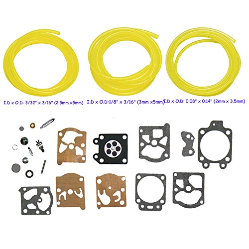 OxoxO Carburetor Diaphragm Gasket Needle Kit with 3 size Fuel Line for  Walbro Echo Homelite Husqvarna Chainsaw String Trimmer Replace K20-WAT