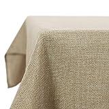 Deconovo Nappe carrée Polyester Effet Lin Anti-Tâches Imperméable 150x150 cm Lin
