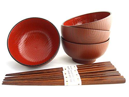 Miso Suppenschalen Set MOKUME inklusiver Essstäbchen