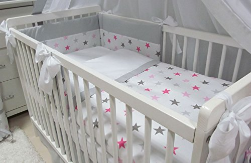 Babymajawelt® Baby Bettwäsche Set, Bett Set 5 TEILE, VOILE fürs BABYBETT 70x140 cm, Bettwäsche 100x135, Nestchen, Himmel Voile (Baldachim, Moskito) (Big Stars rosa)