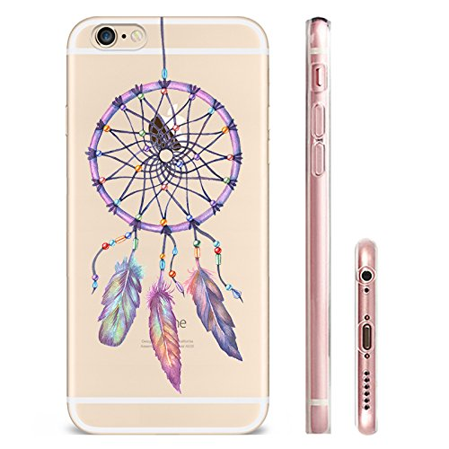 IPhone 6 plus Hülle, Schutzhülle Case Silikon- Clear Ultra Dünn Durchsichtige Backcover TPU Case für iPhone 6plus 6splus Traumfänger lila