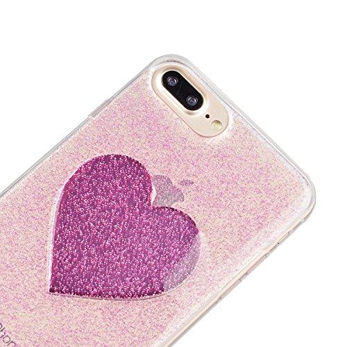 iPhone 7 Plus Hülle, Yokata Liebe Herzen Motiv Klar Transparent Durchsichtig Weich TPU Silikon Gel Glitzer Bling Case Cover mit Bumper Schutzhülle Dünne Handyhülle + 1 X Stylus Pen - Rose Red Rose Red