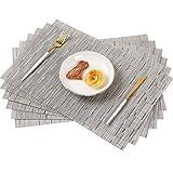 Famibay Vinyl Tischset 6er PVC Platzsets rutschfest Abwaschbar für Küchentisch Tischläufer Abgrifffeste Hitzebeständig Platzdeckchen(Grau)