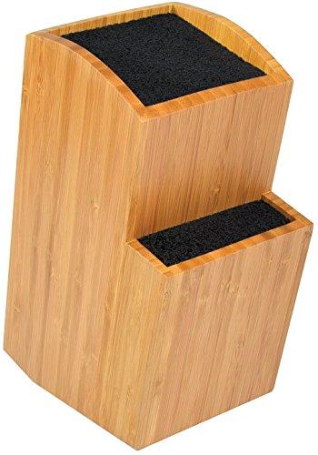 ETTU Bambus-Universalmesserblock - Extra Großer, Zweistufiger, Schlitzfreier Holzmesserständer - Herausnehmbare Borsten