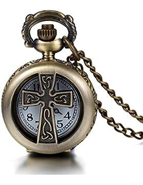 JewelryWe Damen Herren Taschenuhr Medaillon Design mit Kreuz Uhranhänger Quartz Kettenuhr Uhr Halskette