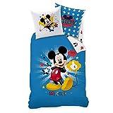 MICKY Maus Kinder Bettwäsche · MICKEY MOUSE STAR · Wende Motiv mit Sternen in blau · 2 teilig - Kissenbezug 80x80 + Bettbezug 135x200 cm - 100% Baumwolle