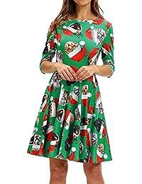 c42c7b650bd3 Tupath Abito Donna Casual Abito Donna Moda Mezza Manica Natale Gatto Stampa  Vintage Mini Abito Swing