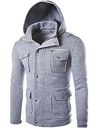 SHOBDW Hombres Bolsillo Abrigo sólido Chaqueta suéter Swearshirt Sudadera con Capucha Manga Larga Outwear