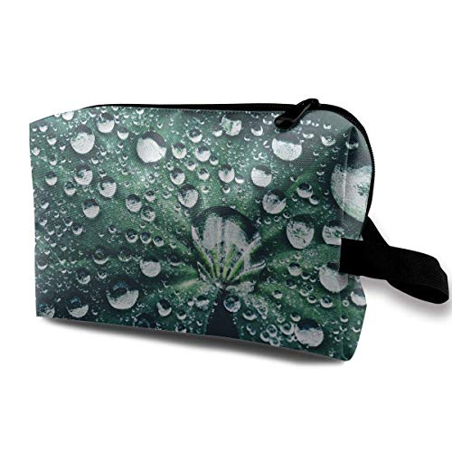 with Wristlet Cosmetic Bags Leaf Water Drops Travel Portable Makeup Bag Zipper Wallet Hangbag - Designer-drop-bag