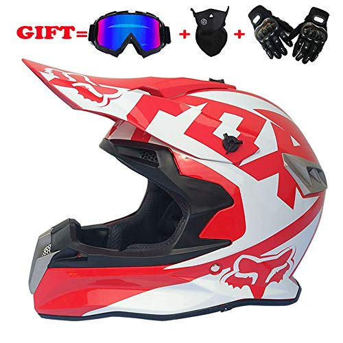 LPC Full Face Motocross Helm Road Cross Country Racing Helm - Groß - Rot/Weiß Schwarz Mode (Size : M)