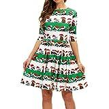 Efanhony Frauen Mode Halbe HüLse Weihnachten Vintage Swing Minikleid A-Linie Kleider Elegant Abendkleider Langarm Kleid Festival Bluse