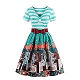 iPretty Retro Kleid Damen Kurzarm V-Ausschnitt 1950er Rockabilly Faltenrock Sexy Abendkleider Cocktailkleider Knielang Partykleid mit Gürtel-Blau-L