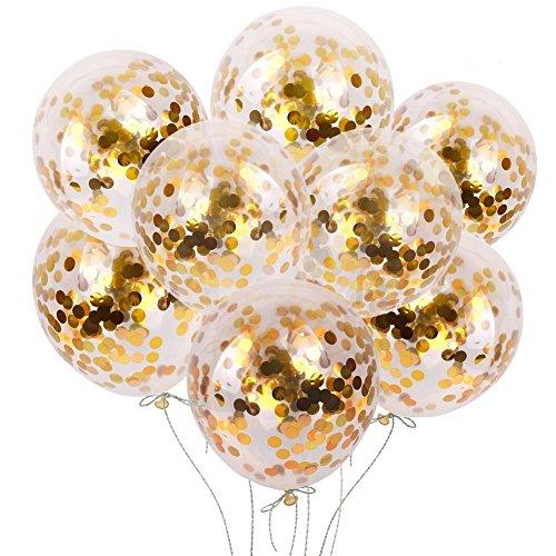 (VoilaLove 20 Stück Gold Konfetti Ballons - 12