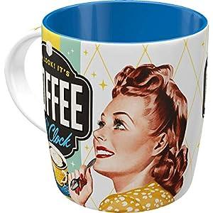 Nostalgic-Art 43019 Retro Kaffee-Becher Say it 50's - Coffee o' Clock, Lustige große Tasse mit Spruch, Geschenk-Idee für Vintage-Liebhaber, 330 ml