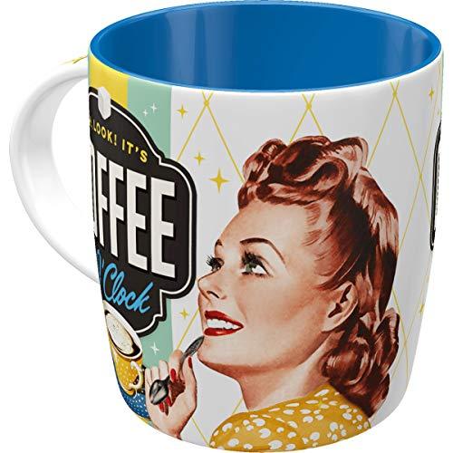 Nostalgic-Art 43019 Retro Kaffee-Becher Say it 50\'s - Coffee o\' Clock, Lustige große Tasse mit Spruch, Geschenk-Idee für Vintage-Liebhaber, 330 ml