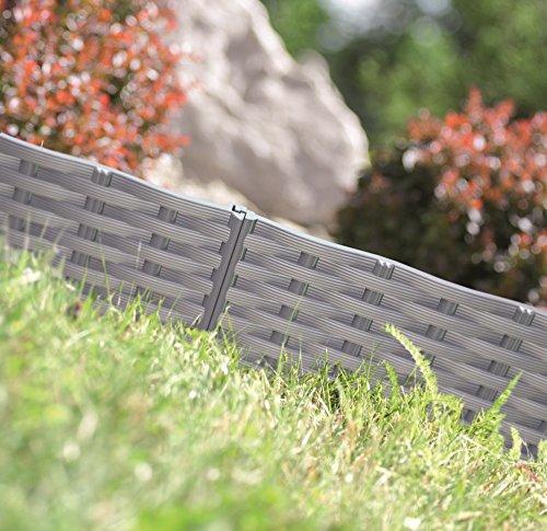 #Rasenkante Gartenpalisade Beeteinfassung Beetumrandung 3,9m Rattan-Optik 3 Farben (Grau)#