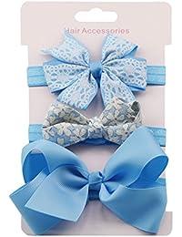 Diademas de Flores para Bebé Diadema Accesorios de Bowknot Perla Conjuntos de Diadema para 6meses-8 años 3PCS Diademas 21 Estilo❤️Lonshell