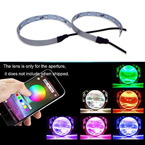 Fulintech, 1 paio di fari a LED colorati per auto, luce di marcia diurna, circolari universali per auto, controllo app