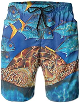Sea Turtles In Sydney Men's/Boys Casual Quick-Drying Bath Suits Elastic Waist Beach Pants with Pockets