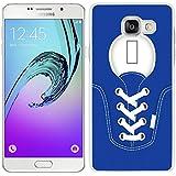 funda carcasa para Samsung Galaxy A5 2016 zapatilla cordones color azul marino borde blanco