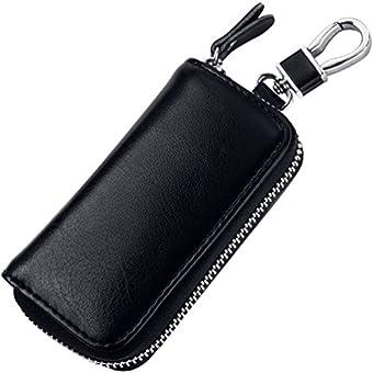 MPTECK @ Schwarz Multifunktionale Schlüsseletui Schlüsselmäppchen PU Leder Praktisch Autoschlüssel Auto Key Schlüsseltasche Hülle Tasche mit Reißverschluss für Damen Herren
