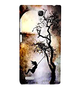 For Xiaomi Redmi Note :: Xiaomi Redmi Note 4G girl on hammock, hammock, girl, tree, moon, night Designer Printed High Quality Smooth Matte Protective Mobile Pouch Back Case Cover by BUZZWORLD