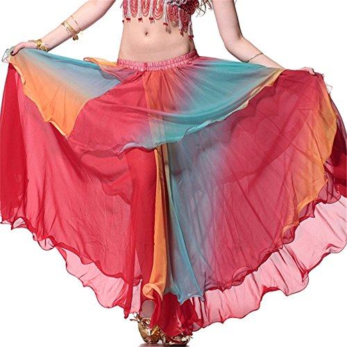 Ladies Danzawea Danza del ventre Gonne Swing Tiered Danza Costumes Maxi Gonne Danza Clothes Full (Tiered Circle)