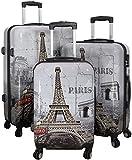 set à 3 vacances valises voyage bagages trolley coque rigide 4 roues legér motif PM (Tour Eiffel)