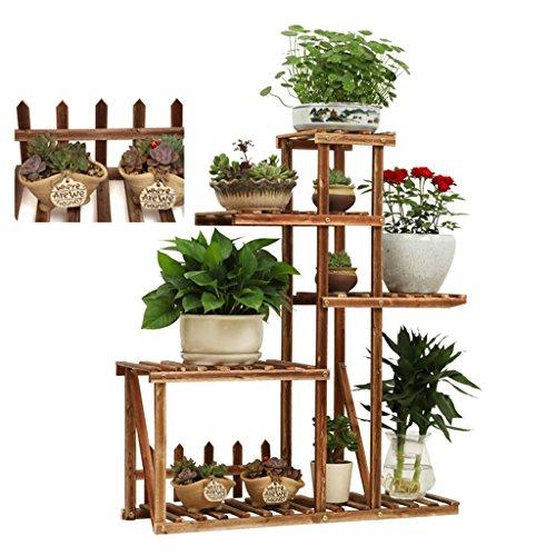 estes Holz-Blumen-Regal mit 4 Reihen Wohnzimmer-Schlafzimmer-Balkon-Dekorations-Boden-stehendem Regal - 4 Arten Arten - L76xD25xH91CM hölzernes Innenblumentopf-Regal Mehrschichtgarten-Anzeigen-Regal-Speicher-Regal ( Farbe : C ) (Pflanze Stand Für Kräuter)