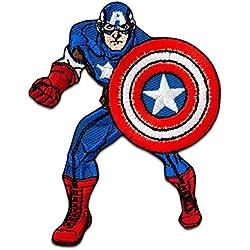 Toppe termoadesive - AVENGERS Captain Americacomico bambini - blu - 7x8,5cm - Patch Toppa ricamate Applicazioni Ricamata da cucire adesive