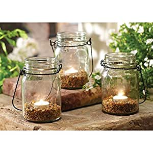 3 Piece Hanging Mason Jar And Tealight Set Amazoncouk Kitchen Home
