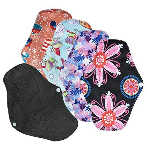 Conpro 4 Stück 25.5cm Waschbare Stoffbinden, Slipeinlagen Waschbar, Wiederverwendbare Binden, Damenbinden waschbar Pads Menstruationstuch aus Bambusfaser