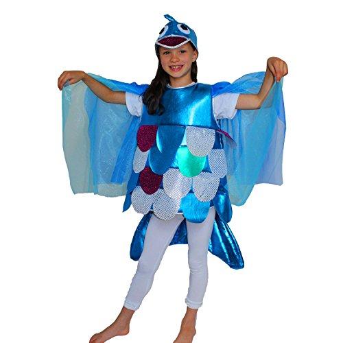 Krause & Sohn Kinder Kostüm Regenbogenfisch Gr. 128 Fisch-Kostüm Meer Karneval Fasching