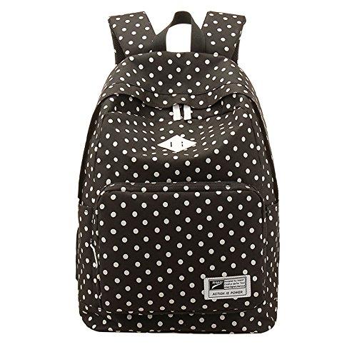 Niña de lunares Vintage el mochila de la mujer, niña moda escuela bolsas para adolescentes, negro