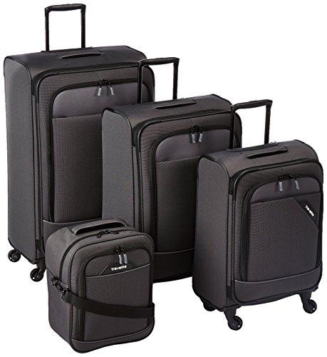 DERBY 4-tlg. Reisegepäckset, 4-Rad L/M erweiterbar/S, Bordtasche, Anthrazit, 87540-04