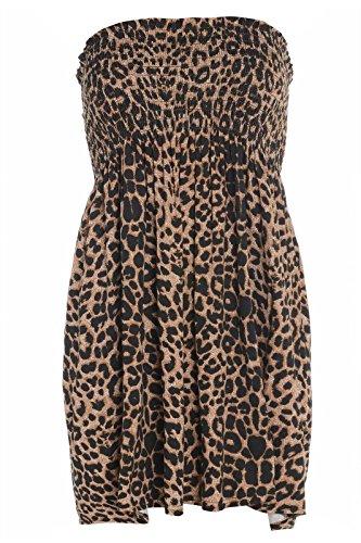 Fashion moins 4 pour femme Imprimé Sheering Plus longue bustier robe Haut débardeur 20 22 Léopard