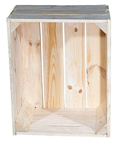 4er Set Apfelkiste Natur mit Tragegriff und 3 Seitenbretter 49x40x28cm