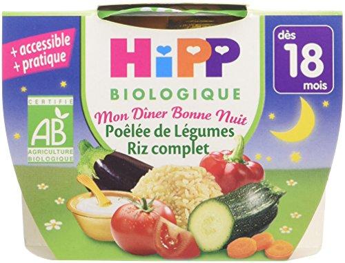Hipp Biologique Mon Dîner Bonne Nuit Poêlée de Légumes Riz Complet dès 18 mois - 8 bols de 250 g
